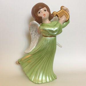 Vintage Atlantic Mold Harp-playing Ceramic Angel